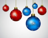 Christmas decoration. Blue  and red christmas balls ornaments Royalty Free Stock Photos