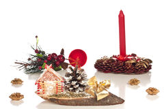 Christmas decoration. Different Christmas decoration on a white background Stock Image