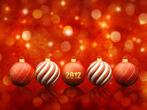 Christmas decoration. Christmas baubles on red sparkly background ,2012 stock illustration