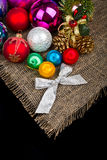 Christmas decoration. And silver bow on black background Royalty Free Stock Images
