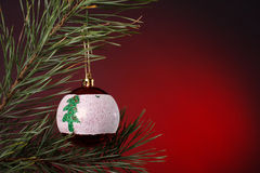 Christmas decoration. In red background Royalty Free Stock Photo