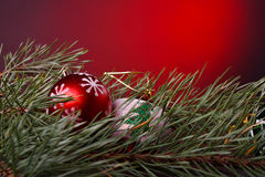 Christmas decoration. In red background Royalty Free Stock Photos