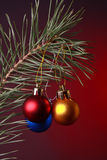 Christmas decoration. In red background Royalty Free Stock Photography