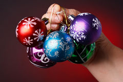 Christmas decoration. In red background Stock Image