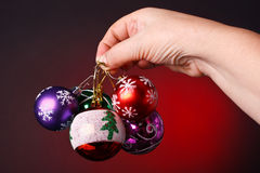 Christmas decoration. In red background Stock Images