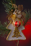 Christmas decoration. In red background Royalty Free Stock Image