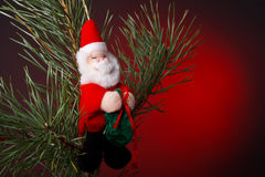 Christmas decoration. In red background Stock Photos
