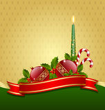 Christmas decoration. Stylized Christmas decoration with balls, holly, candle and candy canes royalty free illustration
