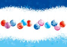 Christmas decoration. Vector of christmas baubles  on backgrounds with snowflakes Stock Image