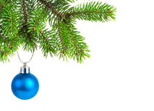 Christmas decoration. Christmas balls and decoration on fir tree branch isolated on white stock image
