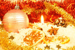 Christmas decoration. Candle with orange and christmas decoration Stock Photos
