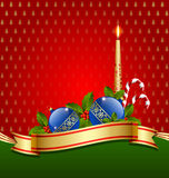 Christmas decoration. Stylized Christmas decoration with balls, ribbon and candle vector illustration