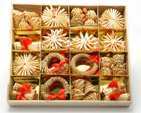 Christmas decoration. Wooden box with full of garnish Stock Images