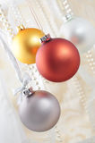 Christmas decoration. With balls and ribbons Royalty Free Stock Photo