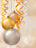 Christmas decoration. With balls and ribbons Stock Images