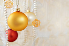 Christmas decoration. With balls and ribbons Royalty Free Stock Images