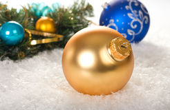 Christmas decoration. With balls and branch fir tree on snow Royalty Free Stock Photo