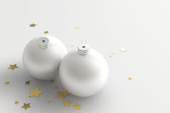 Christmas Decoration. Two white christmas balls with golden stars decoration royalty free illustration