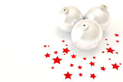 Christmas Decoration. White christmas balls isolated over a white background stock photo