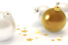 Christmas Decoration. White and golden christmas balls isolated over a white background stock photography