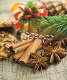 Christmas decoration. Over old wood background Royalty Free Stock Photo