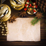 Christmas decoration. Over old wood background Stock Photography