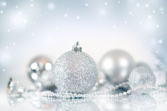 Christmas decoration. Christmas balls on blue background Royalty Free Stock Image