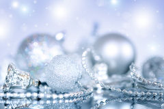 Christmas decoration. Christmas balls on blue background Royalty Free Stock Photos