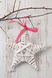 Christmas decoration. On white wooden background Royalty Free Stock Image