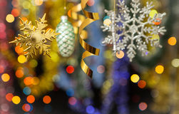 Christmas decoration. Against lights blurred background Royalty Free Stock Photos