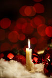 Christmas decoration. Christmas decor burning candle with new year balls stock images