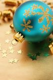 Christmas decoration. Beautiful holiday decoration in gold and blue with stars Stock Photo
