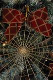 Christmas decoration 3. Christmas decoration of christmas ribbon, christmas net on a christmas tree stock photo