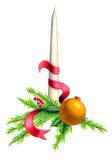 Christmas decoration. Candle, ball and red string composition Royalty Free Stock Photo
