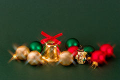 Christmas decoration. Traditional Christmas decorations and pine Stock Image