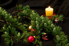 Christmas decoration. Christmas tree, candles, balls and toys Royalty Free Stock Image