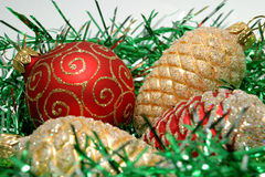 Christmas decoration. With ball and gold and red cone Stock Photo