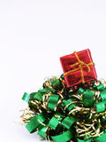 Christmas decoration. Little gift over a christmas decoration Stock Images