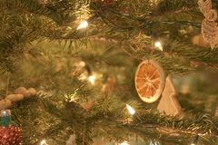 Christmas decoration. Christmas tree decoration with diy lemon Royalty Free Stock Photo
