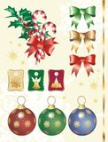 Christmas decoration. Christmas decorative elements, you can compose theme in different ways Royalty Free Stock Photo
