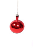 Christmas decoration. A red christmas decoration ball with isolated background Royalty Free Stock Image