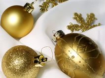 Christmas decoration 4. Christmas decoration with 3 golden balls stock photo