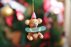 Teddy Bear Christmas Ornament. Small wooden teddy bear Christmas tree ornament Stock Image