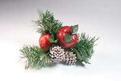 Christmas Decoration. Pine cone, apple,berry,holly and frosted pine Stock Photography