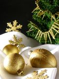 Christmas decoration 6. Christmas decoration with balls and white satin linen stock photo
