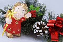 Christmas decoration. With red angel Stock Images