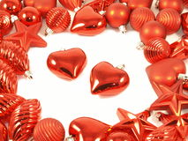 Christmas decoration. Christmas crystal balls with two hearts on white background stock images