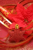 Christmas decoration. Red christmas decoration on a red background Royalty Free Stock Photos
