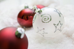 Christmas decoration. Red and white christmas balls Royalty Free Stock Photos