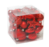 Christmas decoration. Red christmas decoration in transparent box stock images
